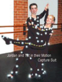 Jordan and Tatianna in their motion Capture Suit they wore for filming.