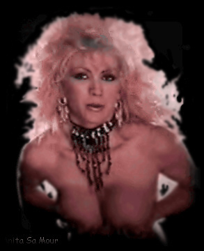 Anita SaMour Color Photo of Burlesque Stripper Dancer: circa 1970's.