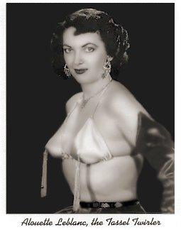 Miss Allouette LeBlanc B/W photo of Burlesque Stripper and Dancer 'The Tassel Twirler': circa 1950's. Wearing Long Black Satin Gloves, White Satin Bikini Top with Tassels'