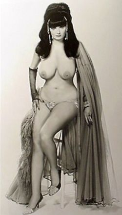 Angel Baby Photo of Burlesque Stripper Dancer: aka: The Chest Appeal Girl. circa 1960's. Dancer is wearing veils, Long Sheer Gloves, Panties and medium Heels.