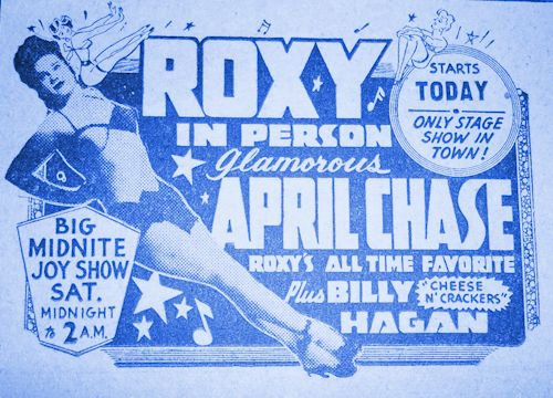 Photo of Roxy Advertisement with Burlesque Stripper, Dancer April Chase: circa 1950's.