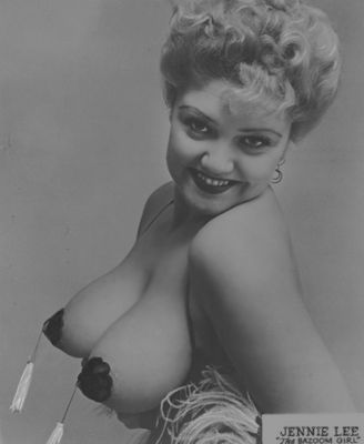 Jennie Lee Burlesque Dancer, Stripper upper body promotional pose in black pasties photo.