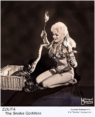 Zolita the snake goddess Vintage Burlesque dancer, stripper photo 1