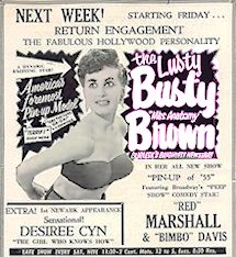 Vintage Burlesque Advertisement (Busty Brown)