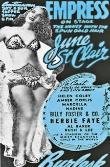 Burlesque Page: 'J' : June St. Clair -- Empress theatre Newspaper Ad.