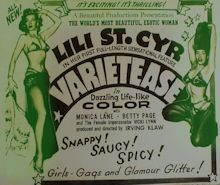 Lili St. Cyr and Betty Pages - Varieties Advertisement