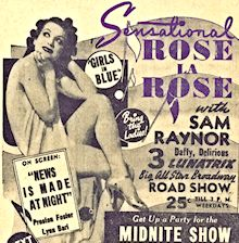 Burlesque Page: 'R' : Rose La Rose: Roxy Burlesk Newspaper Ad.