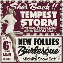 Burlesque Page: 'T' : Tempest Storm: New Follies Burlesk Newspaper Ad.