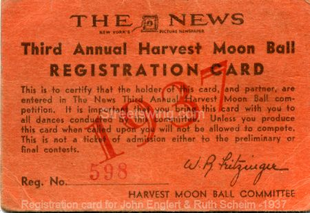 Third Annual Harvest Moon Ball Registration Card - 1937 #598 (John Englert and Ruth Sheim - Collegiate Shag Divsion)
