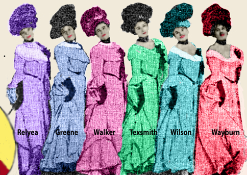 Girls order believed to be (left to right): Relyea, Greene, Walker, Tex-Smith, Wilson, Wayburn.