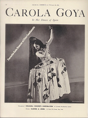 Carola Goya's Program Cover for her Spanish Dances with Photo
