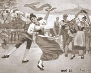 1895 - Dancing the Saltarello at the Bay of Naples - by Milton Fisher