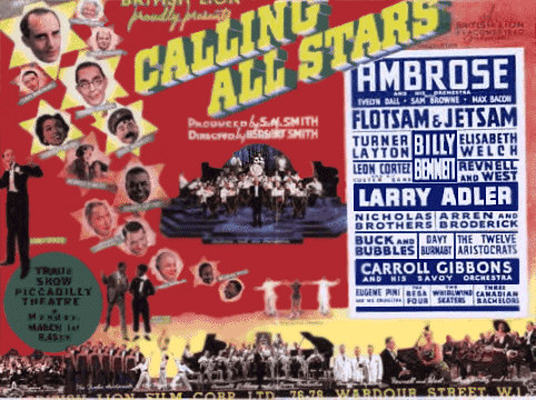 Calling All Stars Movie Poster featuring Buck and Bubbles and the Nicholas Brothers.