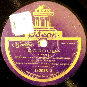 "78 LP Record Label of ""Cordoba"""