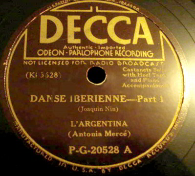 "78 LP Record Label of ""Danse Iberienne, Part 1"" by Joaquin Nin"