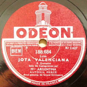 "Odeon 78 LP Record Label of ""Jota Valenciana "" by Sarasato."