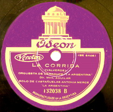 "Oseon 78 LP Record Label of ""La Corrida "" by Valverde."