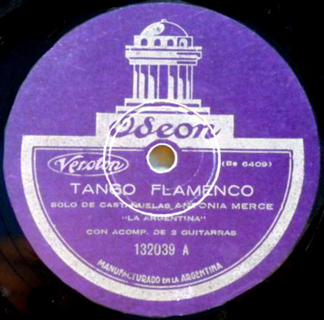 "Oseon 78 LP Record Label of ""Tango Flamenco"""