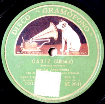 "78 LP Record Label of ""Cadiz"" by Albeniz."