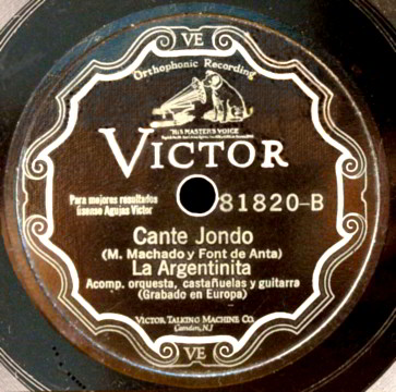 "78 LP Record Label of ""Cante Jondo "" by M. Machado & Font de Anta."
