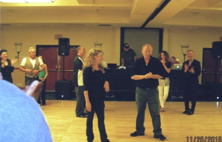circa 2013. Sonny and Denise teaching the First class of the Weekend, US Open pre party