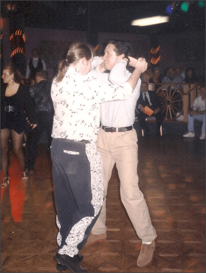 Dancing with my friend Robert Cordoba at the Crest Lounge, circa 1988