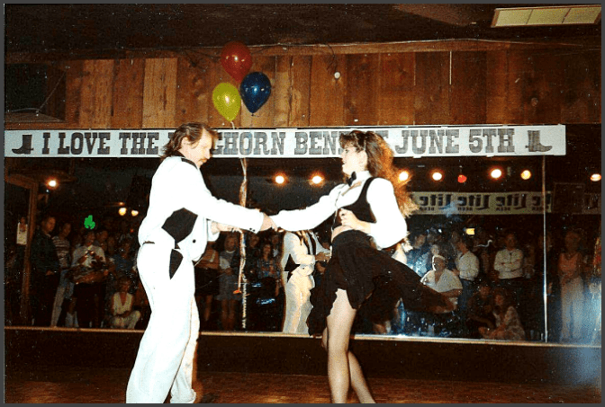 Hired to dance at the Longhorn Saloon Benefit Dance with Kris Hagerty, circa 1990