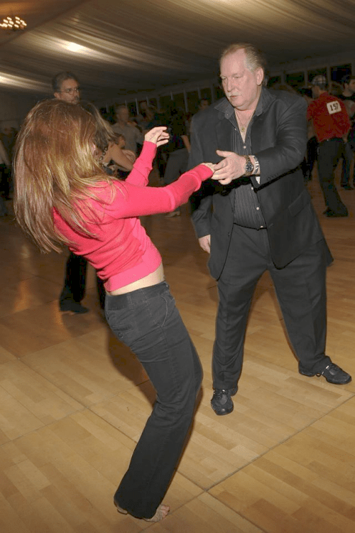 Sonny dancing with Melissa Rutz in Monterey, circa 2013