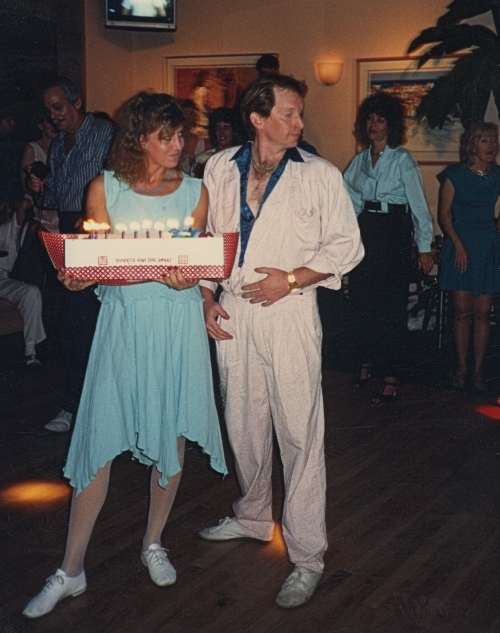 My birthday at Sleauths Bar and Grill inShermanOaks Galleria circa 1986