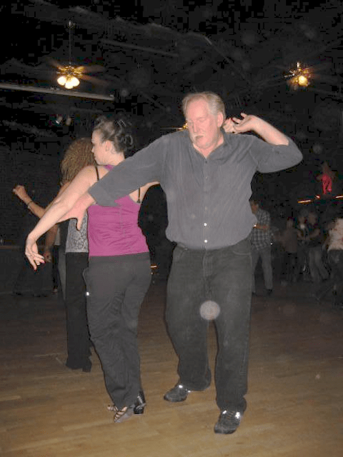 Sonny dancing with Rachel Smith at the Clubhouse in Orange County, Ca. circa 2014