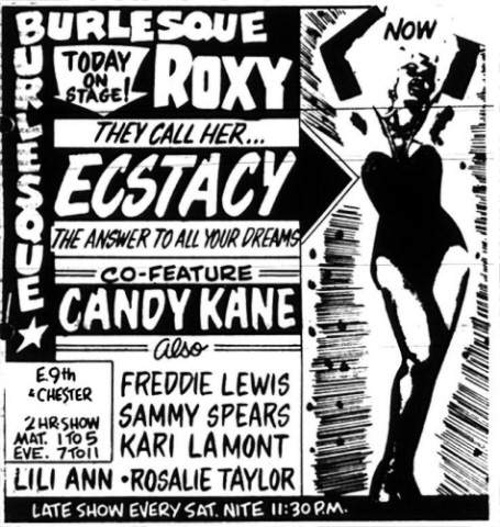 Vintage Roxy Theatre Burlesque advertisment co-featuring Candy Kane