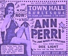 Burlesque Page: 'A' : Town Hall Newspaper Ad.: Ann Perri