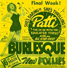Burlesque Page: 'P' : Patti: New Follies Burlesk Newspaper Ad.
