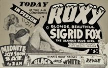 Burlesque Page: 'F' : Sigrid Fox: Roxy Burlesk Newspaper Ad.