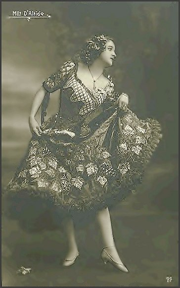 Page D: Vintage Dancer History Index List D (Pictured: Miss Altide) Listings