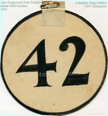Ruth Scheim and John Englert's actual number 42 that was used at the 1937 Harvest Moon Ball