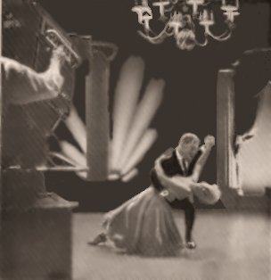 """Phot of Laurie Haile and Joey Harris dancing on the """"Make Believe Ballroom"""" Television show."""