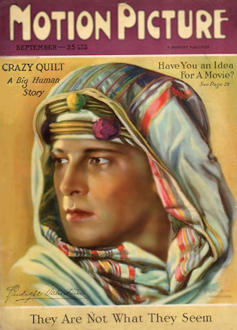 Rudolph Valentino on cover of motion picture magazine