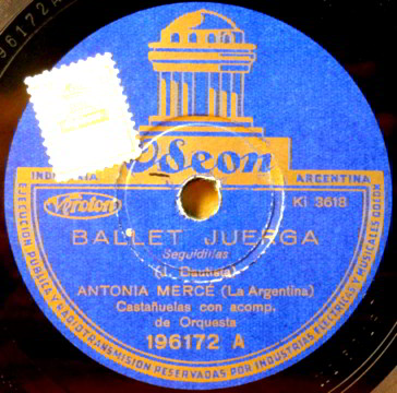 "78 LP Record Label of ""Ballet Juerga"" By La Argentina"