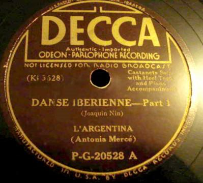 "78 LP Record Label of ""Danse Iberienne, Part 1"" by Joaquin Nin"