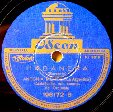 "Oseon 78 LP Record Label of ""HABANERA"" by Sarasato."