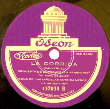 """Oseon 78 LP Record Label of """"La Corrida """" by Valverde."""