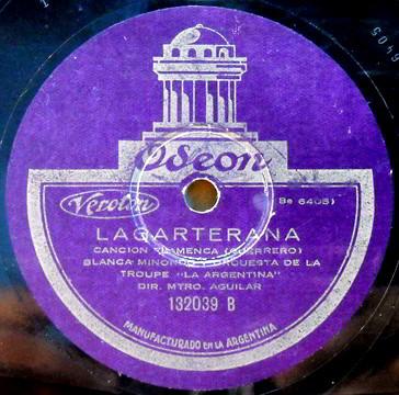 """Oseon 78 LP Record Label of """"LaGarerana"""" by Guerrero."""