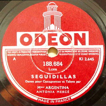 """Odeon 78 LP Record Label of """"Seguidillas"""" by Luxe."""