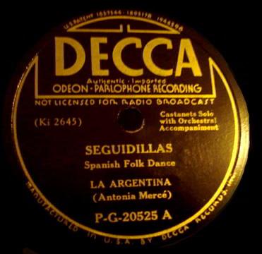 """Decca 78 LP Record Label of """"Seguidillas"""""""