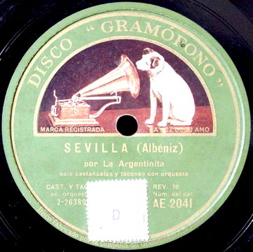 "78 LP Record Label of ""Sevilla"" by Albeniz."